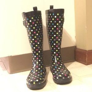 Polka dot multi color rain boots